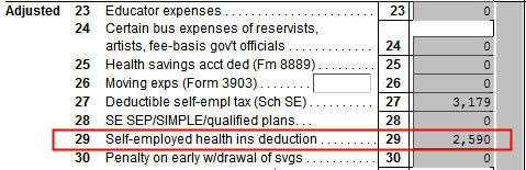 ACA Self-Employed Health Insurance In H&R Block Software