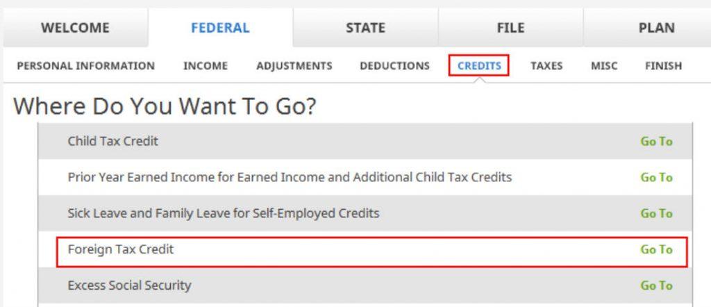 Crédito de imposto estrangeiro com formulário 1116 no software TurboTax e H&R Block 15