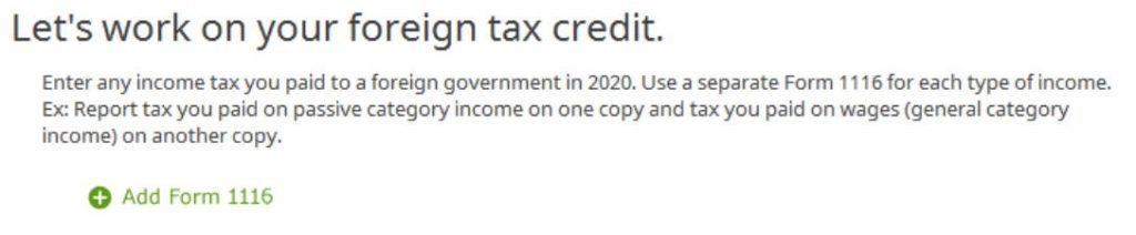 Crédito de imposto estrangeiro com formulário 1116 no software TurboTax e H&R Block 16