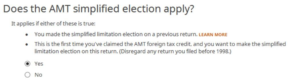 Crédito de imposto estrangeiro com formulário 1116 no software TurboTax e H&R Block 17