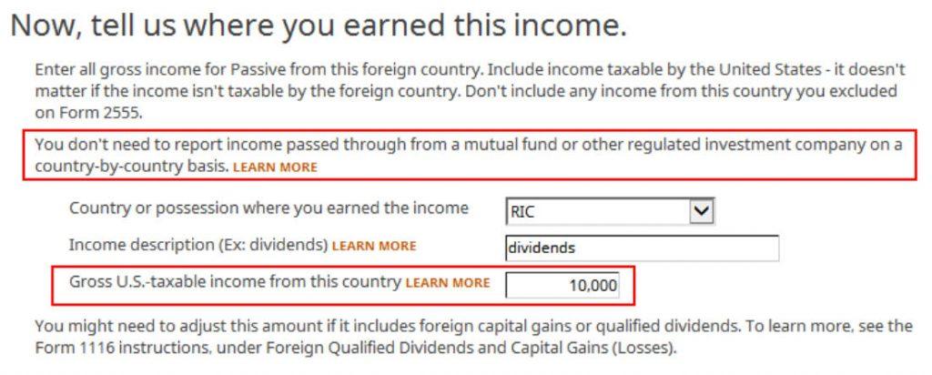 Crédito de imposto estrangeiro com formulário 1116 no software TurboTax e H&R Block 19