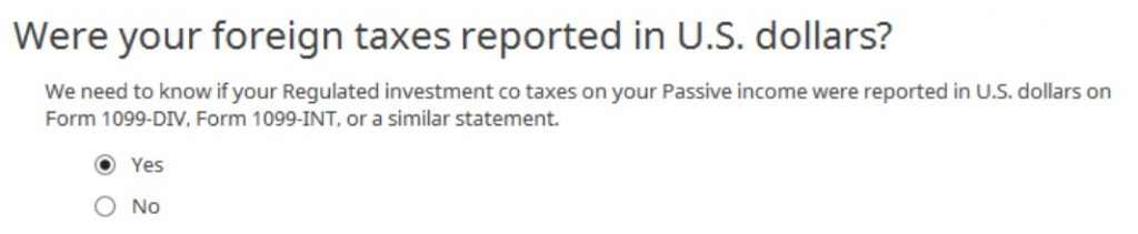 Crédito de imposto estrangeiro com formulário 1116 no software TurboTax e H&R Block 24