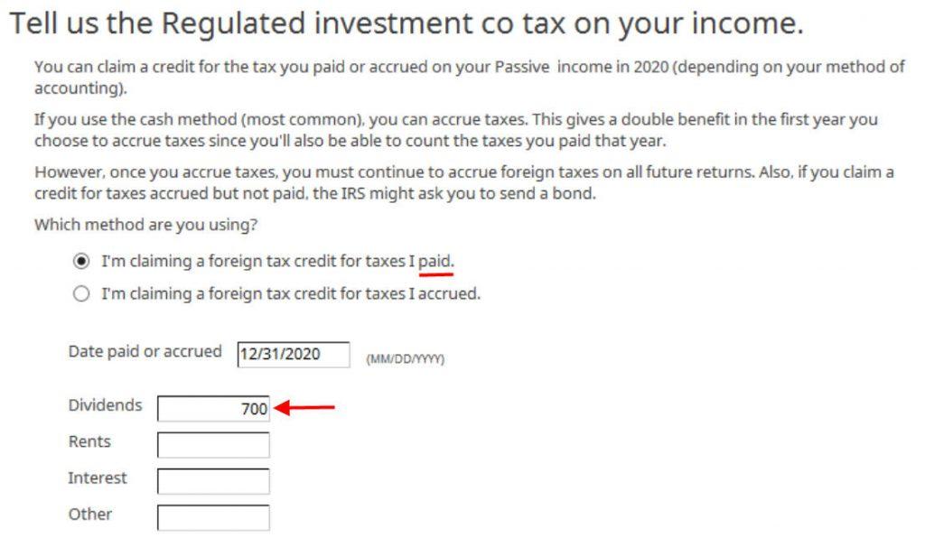 Crédito de imposto estrangeiro com formulário 1116 no software TurboTax e H&R Block 25