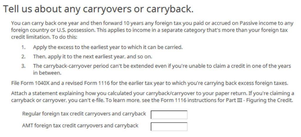 Crédito de imposto estrangeiro com formulário 1116 no software TurboTax e H&R Block 27