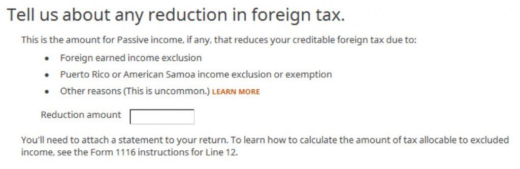 Crédito de imposto estrangeiro com formulário 1116 no software TurboTax e H&R Block 28