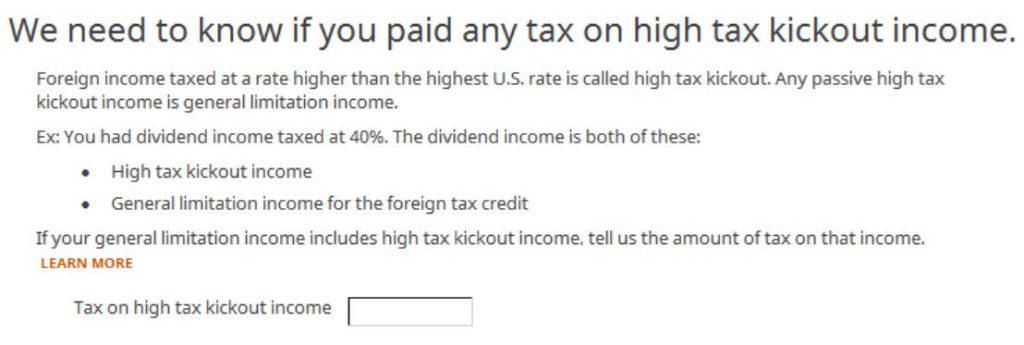 Crédito de imposto estrangeiro com formulário 1116 no software TurboTax e H&R Block 29