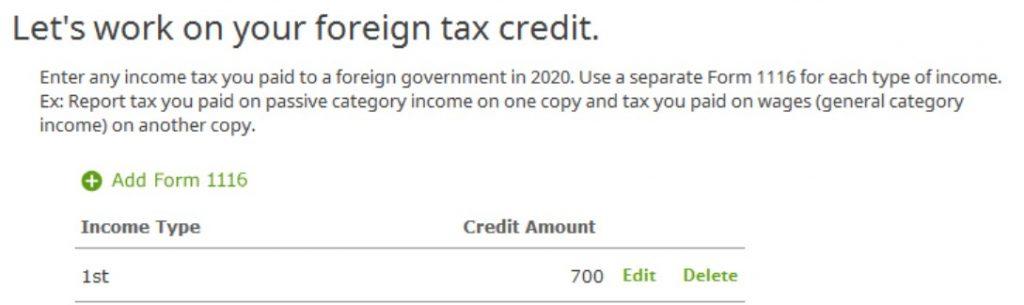 Crédito de imposto estrangeiro com formulário 1116 no software TurboTax e H&R Block 32