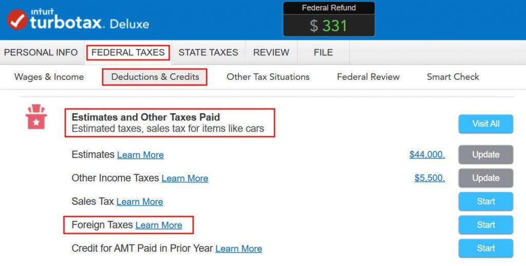 Crédito de imposto estrangeiro com formulário 1116 no software TurboTax e H&R Block 2