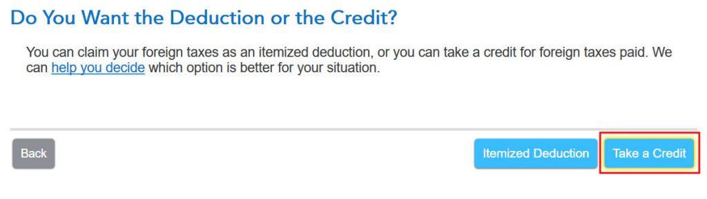 Crédito de imposto estrangeiro com formulário 1116 no software TurboTax e H&R Block 3