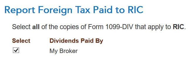 Crédito de imposto estrangeiro com formulário 1116 no software TurboTax e H&R Block 6
