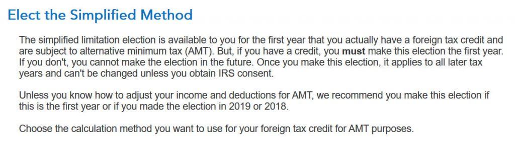 Crédito de imposto estrangeiro com formulário 1116 no software TurboTax e H&R Block 9