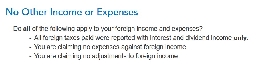 Crédito de imposto estrangeiro com formulário 1116 no software TurboTax e H&R Block 10