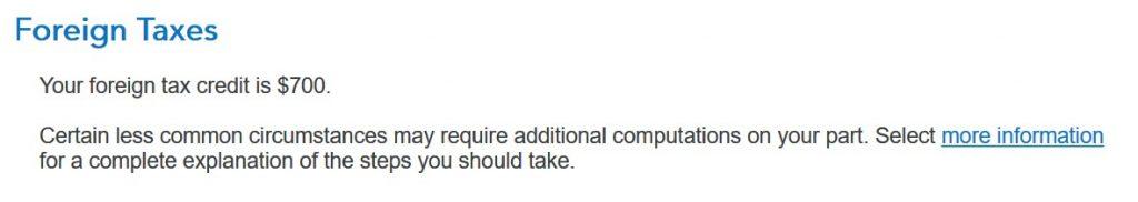 Crédito de imposto estrangeiro com formulário 1116 no software TurboTax e H&R Block 13