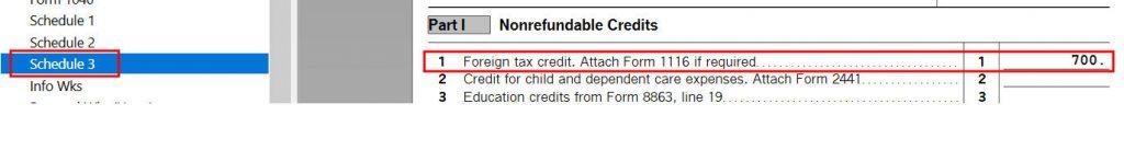 Crédito de imposto estrangeiro com formulário 1116 no software TurboTax e H&R Block 14